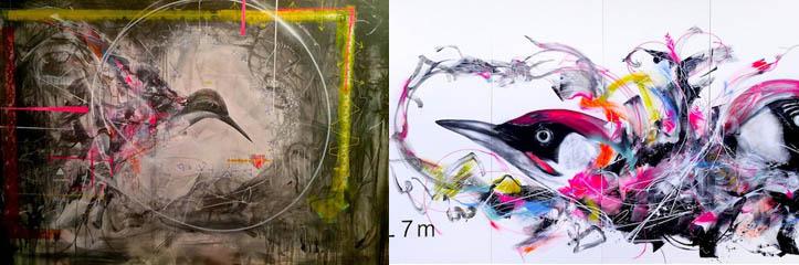 パリとビトリにいるブラジルの芸術家L7mの新しい素晴らしいスプレーで描かれた鳥//フランス