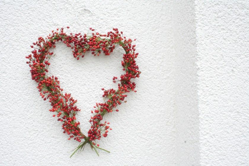 Hagebuttenkranz binden: Ein Herz aus Hagebutten - geflochten auf einem Kleiderbügel. Foto: Julia Marre
