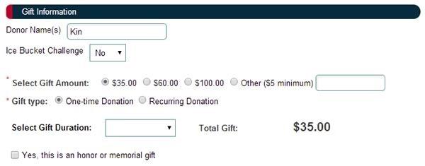 como donar a la asociacion ALS ELA por el IceBucketChallenge - gift information