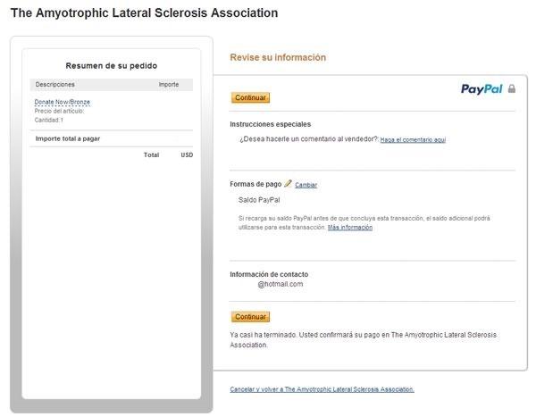 como donar a la asociacion ALS ELA por el IceBucketChallenge - paypal