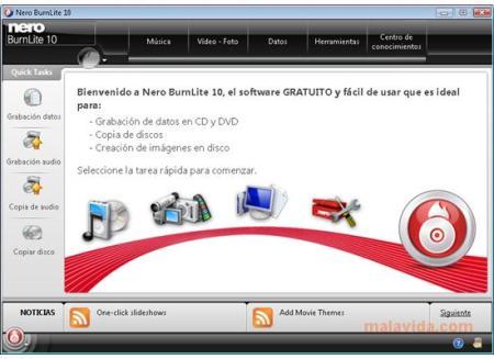 Grabar CDs y DVDs con Nero BurnLite 10