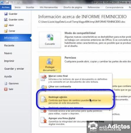 Aumentar la seguridad en tus documentos de Office 2010