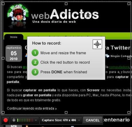 Grabar pantalla y compartirla en Twitter, Screenr