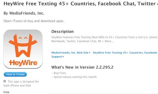Heywire app store mexico La Aplicación para enviar SMS gratis HeyWire, es expulsada de la App Store Mexicana