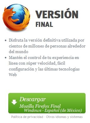 Actualiza a Firefox oficial la versión mas reciente