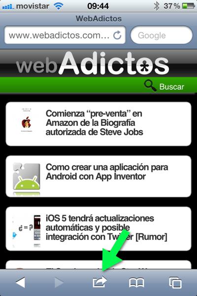 la foto 1 Como agregar un sitio web a tu página de inicio de tu iPhone, iPod o iPad