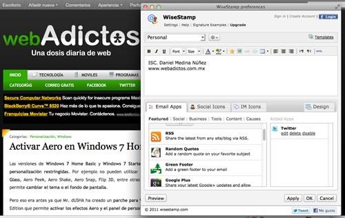 crear firma correo wisestamp Personalizar la firma de tus correos con WiseStamp