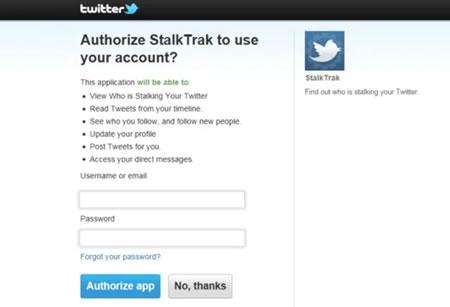 stalktrak StalkTrak, una aplicación que intenta obtener tu password de Twitter