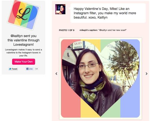 Lovestagram Crea postales de San Valentín con tus fotos de Instagram con Lovestagram