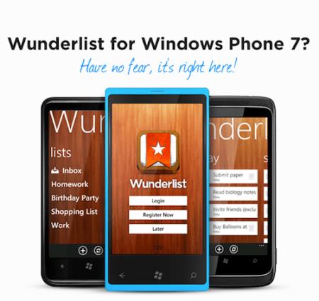 Wunderlist hace su arribo a Windows Phone 7