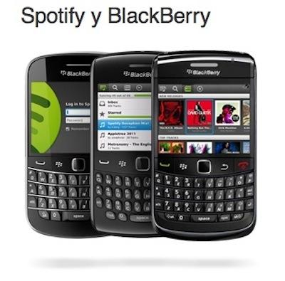 Spotify BlackBerry Spotify lanza su aplicación oficial para BlackBerry