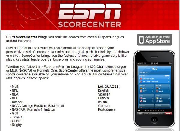 espn scorecenter2 Apps para consultar resultados deportivos