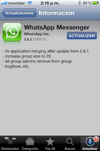 IMG 2561 WhatsApp para iPhone se actualiza y soluciona los problemas causados por la actualización anterior