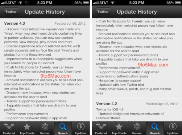 Inminente actualización de Twitter para iOS se filtra en la App Store de iOS 6