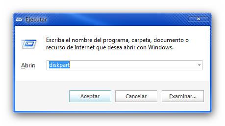 diskpart Crear USB booteable con una copia de Windows 8 funcional