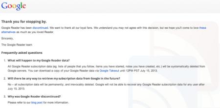 Descarga todos tus datos de Google Reader antes del 15 de julio