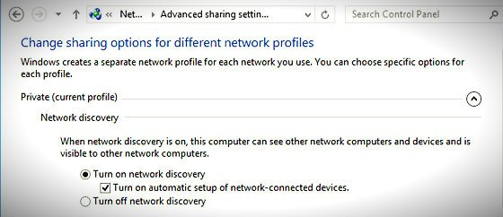 turn on network discovery