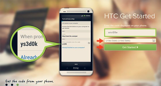 htc get started screen