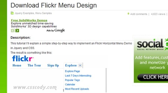 Flickr Horizontal Menu Design