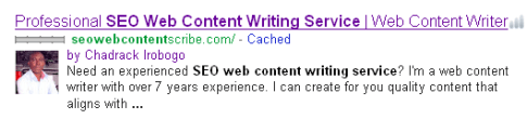 web writing site SERP graphic