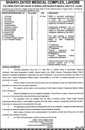 Shaikh Zayed Medical Job Feb 2016 Lahore