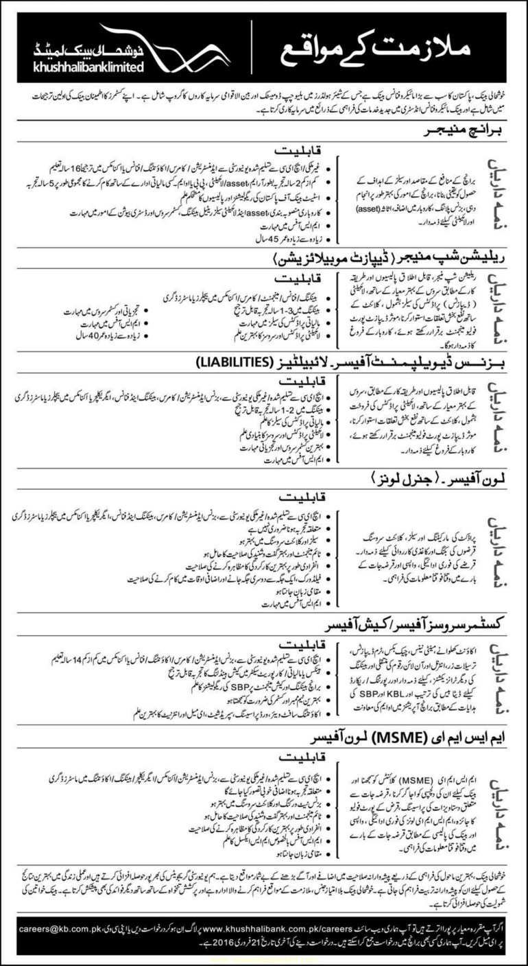 New Khushhali Bank Limited Staff required 2016 Jobs Pakistan