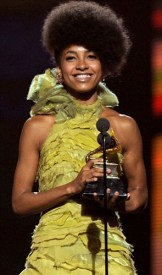 Esperanza Spalding accepts the award for Best New Artist at the 2010 Grammys.