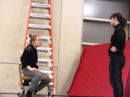 """Webster dance major Melanie Harvengt (left) goes over moves with student Tayler Kinner (right) during a rehearsal of """"The Living Space,"""" which will run at the Kranzberg Arts Center for two nights. MORIAH BOYCE / The Journal"""