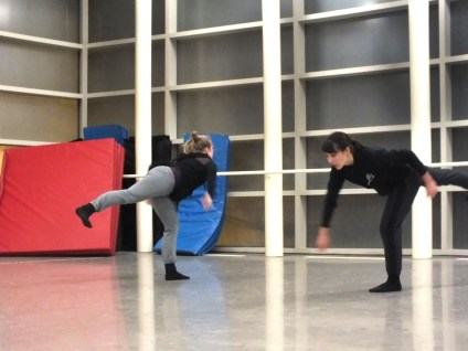 Harvengt and Kinner rehearse moves for The Living Space. MORIAH BOYCE / The Journal