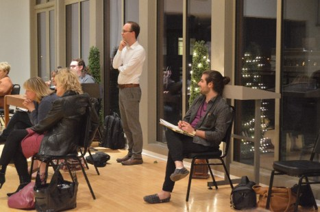 "Director Gad Guterman (left) and writer Max Friedman watch a run-through of ""The Grind,"" which was featured in the BRIEFS Festival. RANDI HAMMOR / The Journal"
