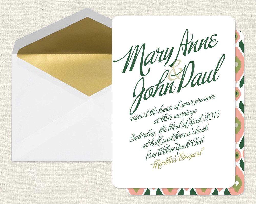 elegant wedding invitations gold green coral classy wedding invitations Elegant Wedding Invitations Gold Green Coral