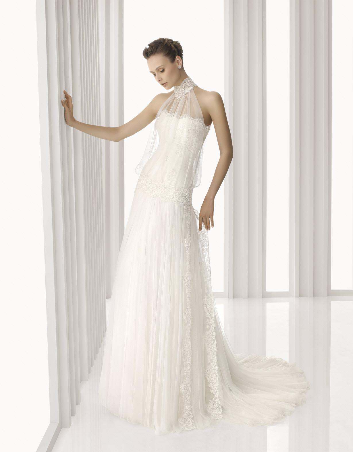 turtleneck wedding dress Wedding lace wro Tulle High Neck Chapel Train A Line Wedding Dress Wro