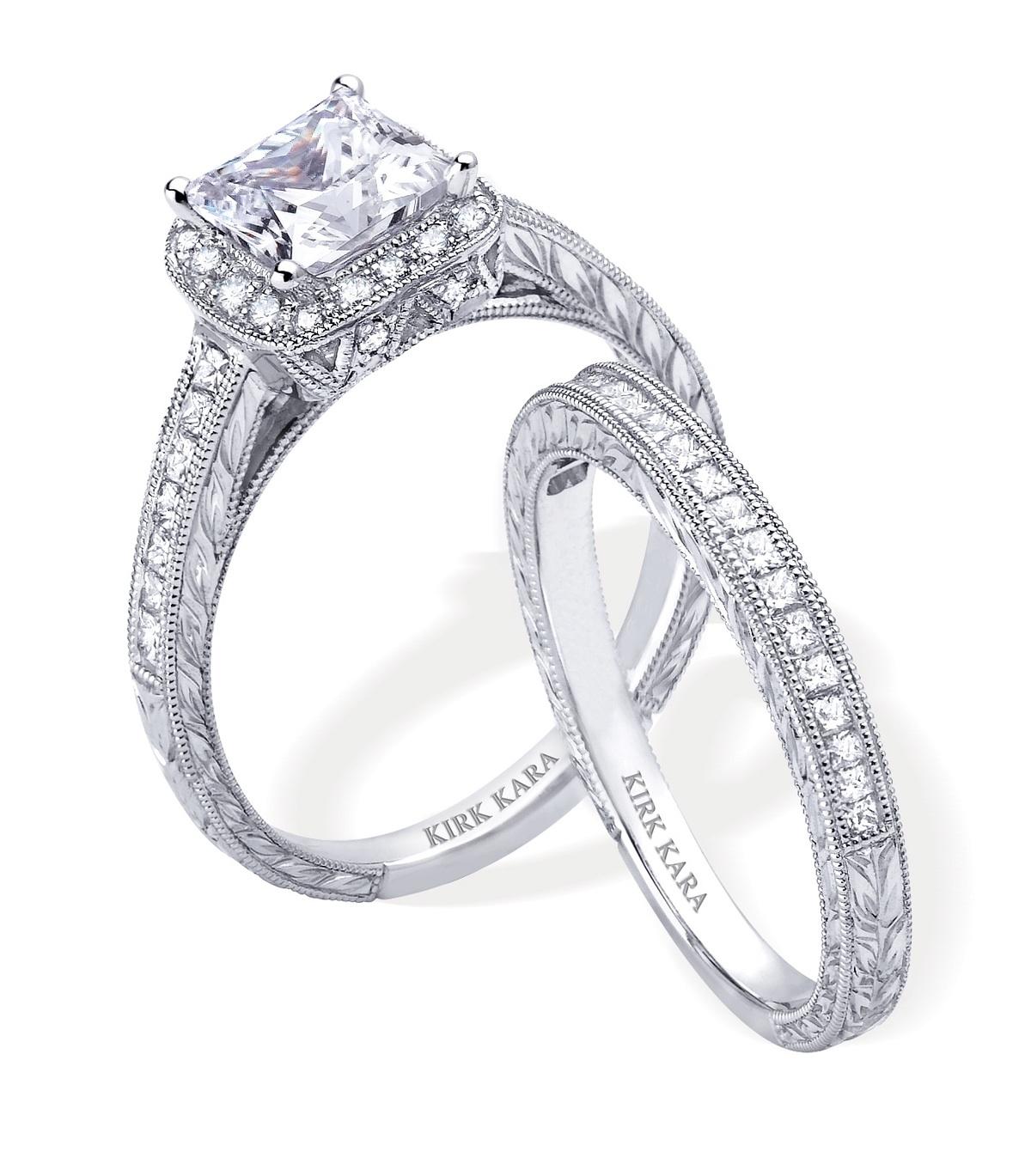 engagement rings and wedding band sets wedding engagement rings Diamond Engagement Ring And Wedding Band Set By Kirk Kara