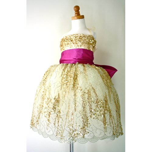 Medium Crop Of Gold Flower Girl Dresses