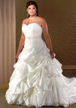 Strapless Plus Size Bridal Gown with Pick ups