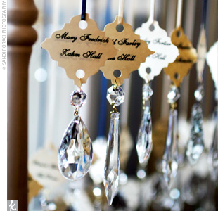 Escort cards with hanging crystals