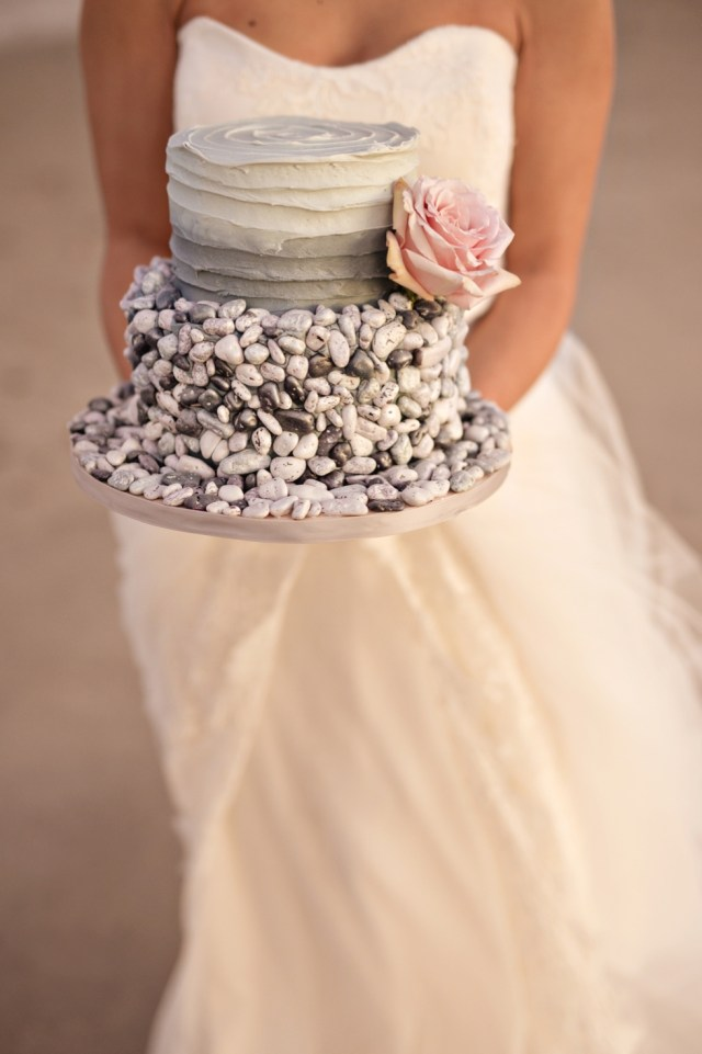 Wedding Cake with Pebbles and Rocks on it