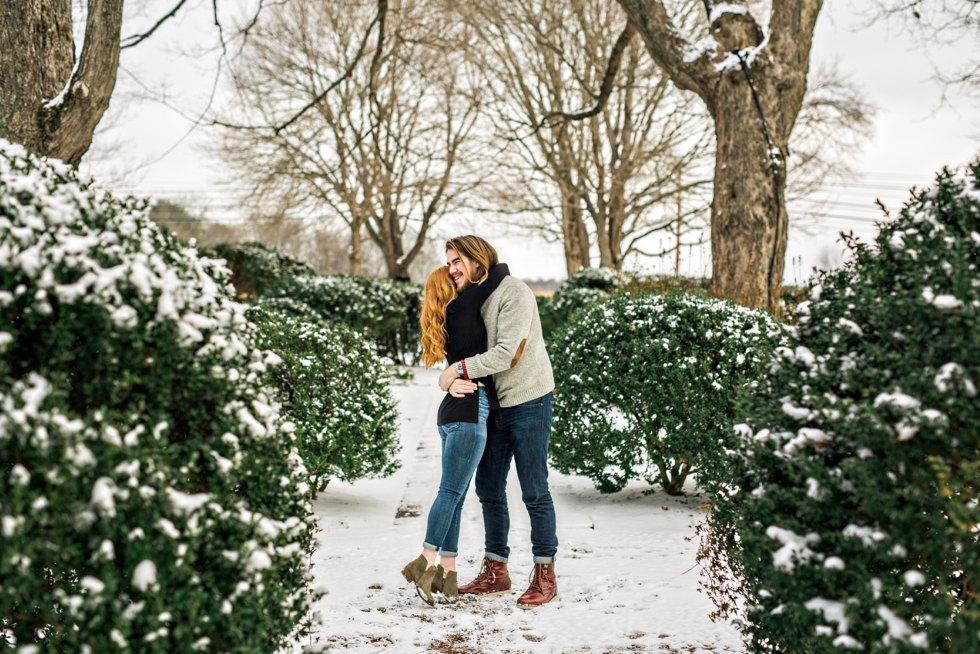 Snowy Nashville Engagement Pictures Homestead Manor