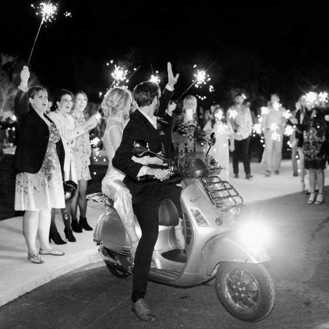 Sparkler and Motorcycle Wedding Exit in Nashville