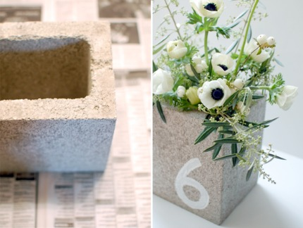 Concrete Cinder Block CenterpiecesTable Numbers via Yes, Please
