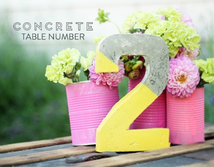 Concrete Table Numbers via Love & Lavender