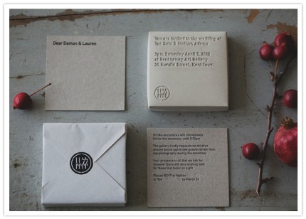 Concrete Wedding Invitations via 100 Layer Cake