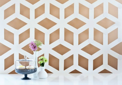 DIY Modern Geometric Backdrop by Ambrosia Creative via Project Wedding