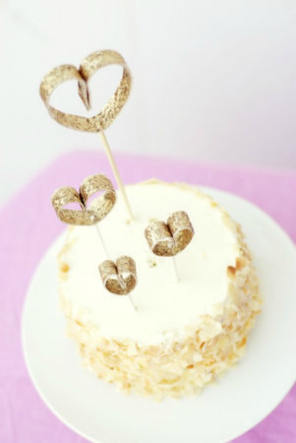 Glittering Hearts Cake Topper Tutorial via Project Wedding