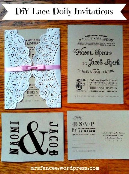 Lace Doily DIY Wedding Invitations via Mrs. Fancee