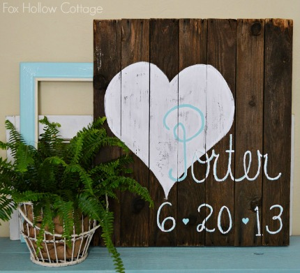 Reclaimed Pallet Wood Wedding Date Sign via Fox Hollow Cottage