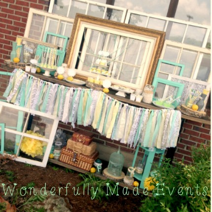 Mint Yellow and Gray Bridal Shower via Wondefully Made Events