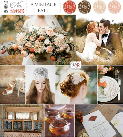 A Vintage Fall Wedding Inspiration Board via Magnolia Rouge