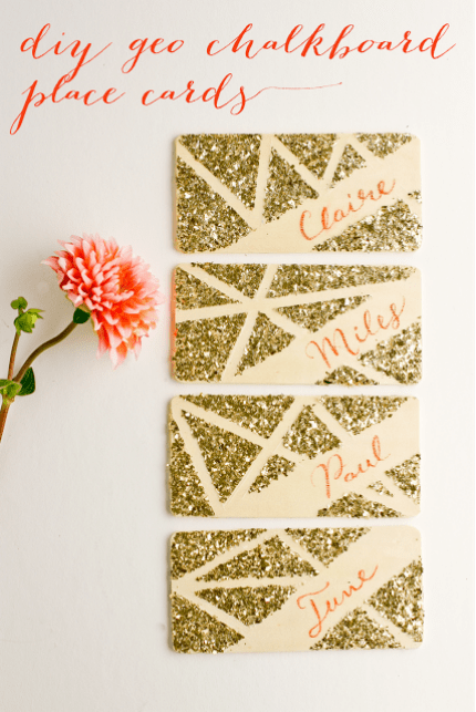 DIY Geo Chalkboard Place Cards via Flax and Twine