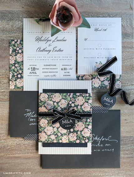 Charcoal & Blush DIY Wedding Invitation Set